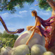 fairy, tree, house, python fantasy, egg, sky, illustration, fantasy